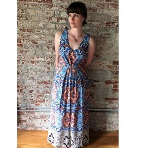 Anthropologie Maeve Silk Paisley Maxi Dress